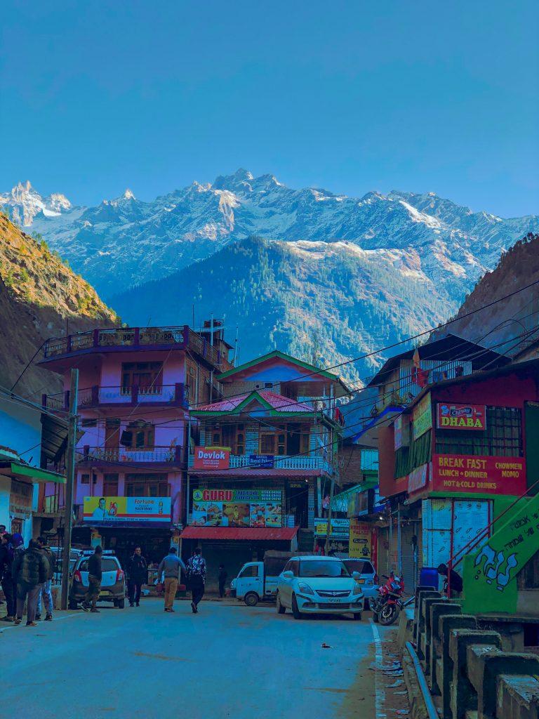 Kasol town in Himachal in morning